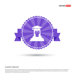 education user icon - purple ribbon banner vector image