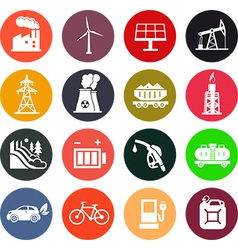 Energy icons in color vector image