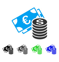Euro and dollar cash flat icon vector