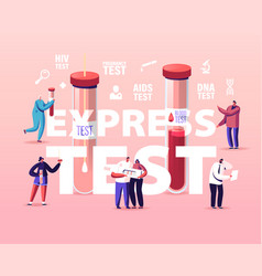 express blood test concept tiny characters at vector image