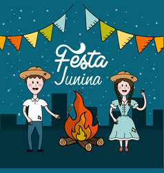 Festa junina with brazilian people and wood fire vector