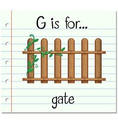 Flashcard letter G is for gate vector