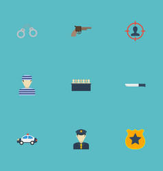 Flat icons manacles bayonet officer emblem and vector