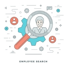 Flat line Business Team Employee Search vector image