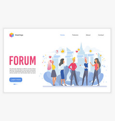 forum landing page flat template vector image