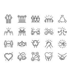 friendship line icon set vector image