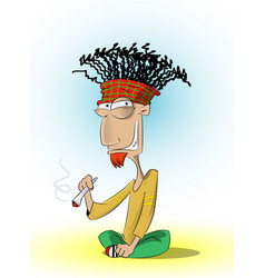 fun sitting rasta man who smoke marijuana vector image