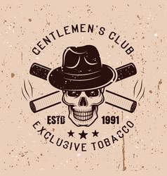 gentleman skull and cigarettes emblem vector image