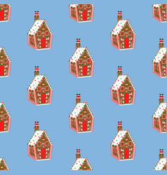Gingerbread house pattern vector