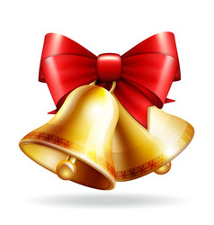 golden bells with a red bow vector image