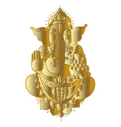 Golden ganapati meditation in lotus pose vector
