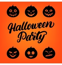 Halloween Party hand written lettering card with vector