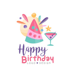 Happy birthday logo creative template for banner vector