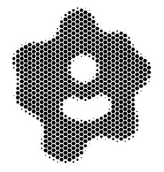 Hexagon halftone amoeba icon vector
