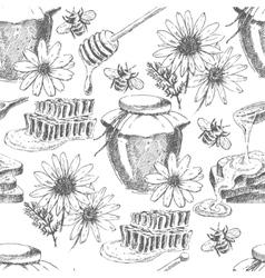 Honey seamless pattern hand drawn jar vector