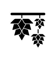 Hops black glyph icon vector