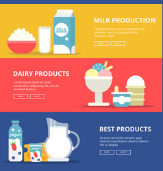 horizontal banners with pictures of dairy milk vector image