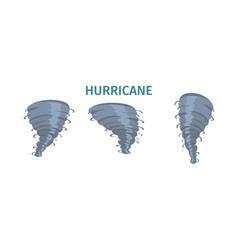 hurricane whirlwind tornado swirl flat set vector image