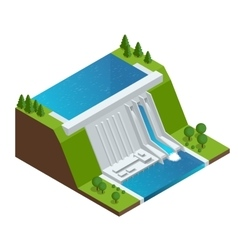 Hydroelectric power plant factory electric water vector