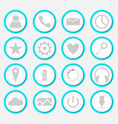 icons with blue backlight vector image