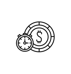 Isolated chronometer and coin icon line design vector