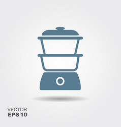 kitchen steam cooker icon in flat style isolated vector image