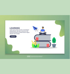 Landing page template learning modern flat vector