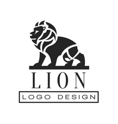 Lion logo design element with wild animal for vector