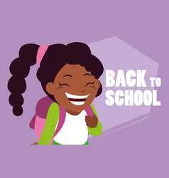 little student girl black with school bag vector image
