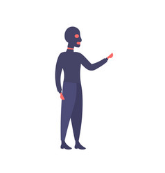 man black mask pointing hand something gesture vector image