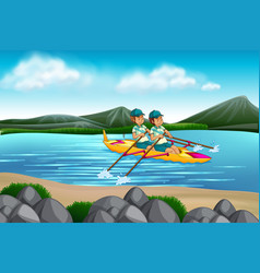 man riding canoe in the lake vector image