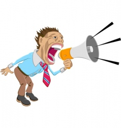 Man shouting into megaphone vector