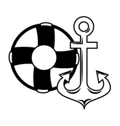 maritime anchor and lifebuoy navy vector image