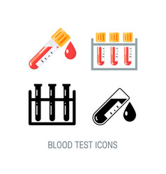 medical icons for blood test infographic vector image