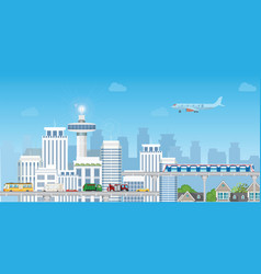 modern city with highway road and subway train vector image