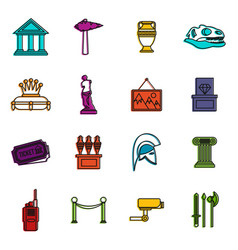 Museum icons doodle set vector