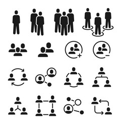 network group icons social community business vector image