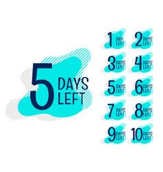 Number days left countdown banner set vector