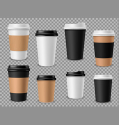 Paper coffee cups set white paper cups blank vector