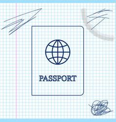 passport with biometric data line sketch icon vector image