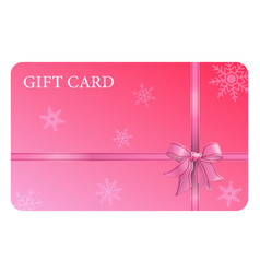 pink gift card with ribbon and bow vector image