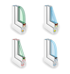 Plastic window frame profile structure corner vector