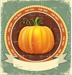 Pumpkin label with scroll for text vintage icon on vector