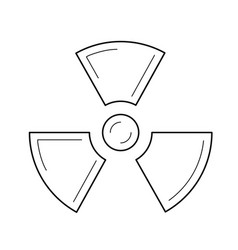 Radioactive sign line icon vector