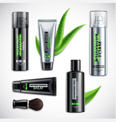 Realistic shaving cosmetics products set vector