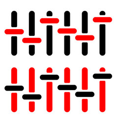 Red and black slider adjuster fader silhouettes vector