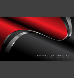 red metallic curve with silver line on dark grey vector image
