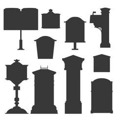 Retro postboxes monochrome silhouettes vector