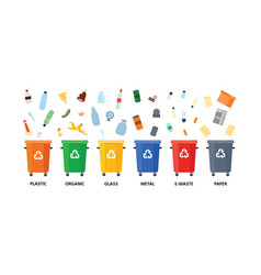 Rubbish bins with different types of waste for vector