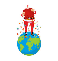 santa claus on earth christmas on planet big red vector image